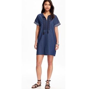 Old Navy Embroidered Front Chambray Dress
